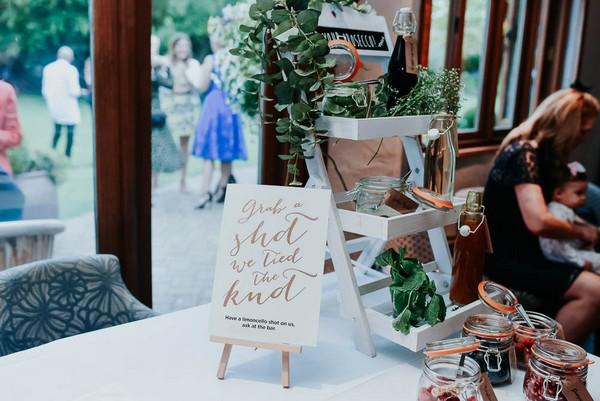 Grab a shot wedding sign