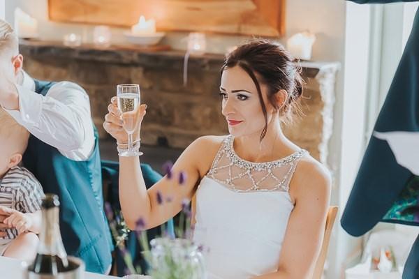 Bride toasting