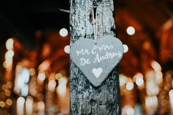 Heart wedding sign