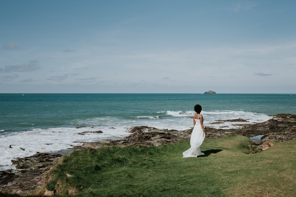 Bride looking out to sea