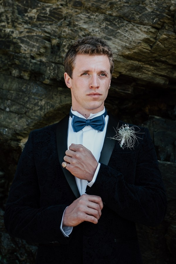 Groom with blue bow tie