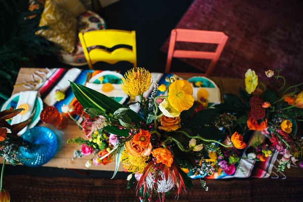 Colourful flowers in centre of table