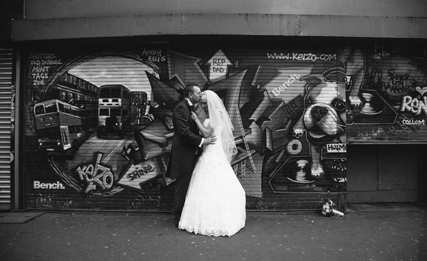 Bride and Groom in City Centre
