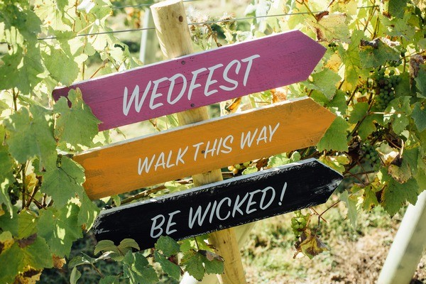 Colourful Wedfest Wedding Sign