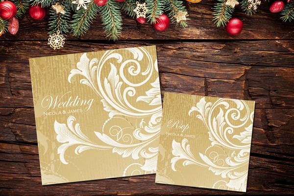 Gold Swirl Traditional Christmas Wedding Stationery Design