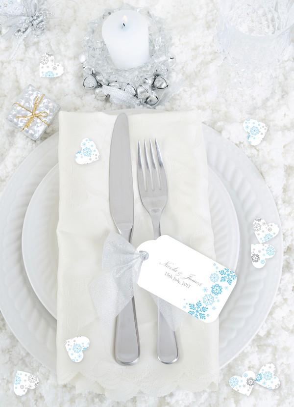 Ice Themed Christmas Wedding Place Card