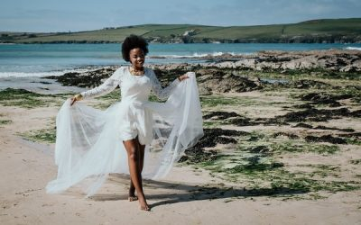 Beach Wedding Inspiration with Blue and Gold Styling