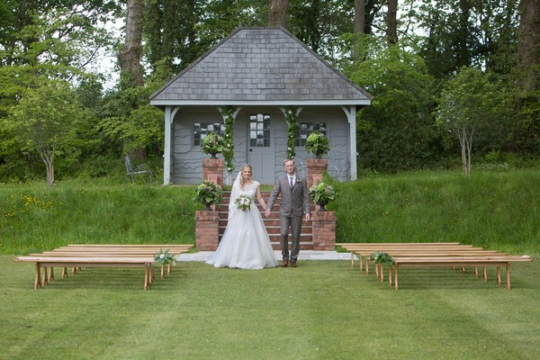 Outdoor Ceremony Seating by Summer House at Deer Park Country House Hotel