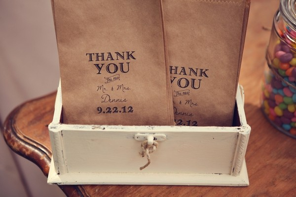 Paper Bag with Wedding Thank You Message