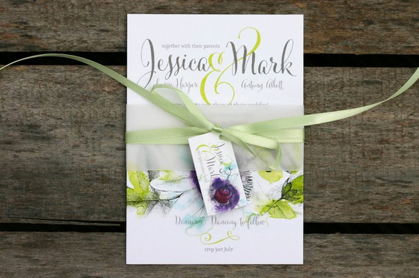 Passiflora Floral Wedding Invitation