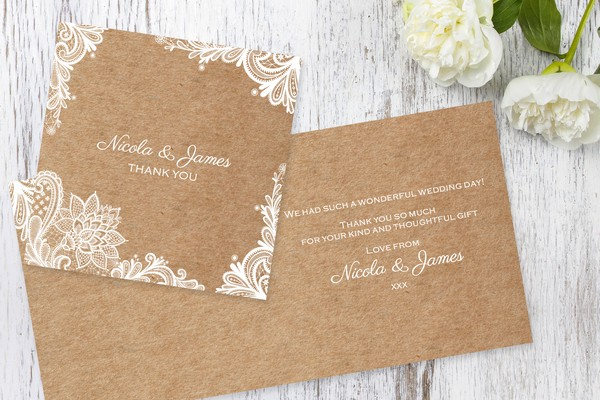 Rustic Lace Wedding Thank You Card
