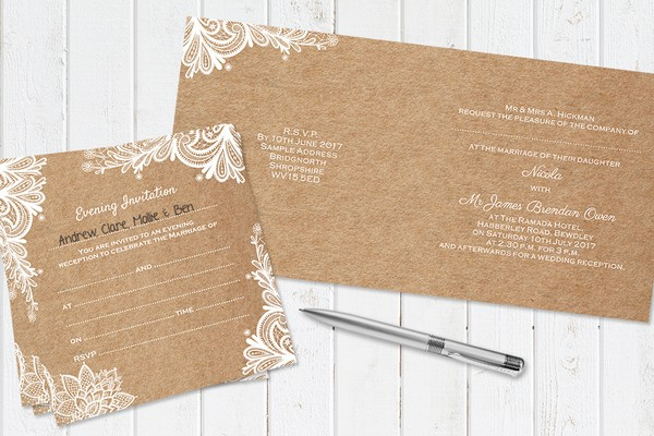 Rustic Wedding Lace Ready to Write Invitation