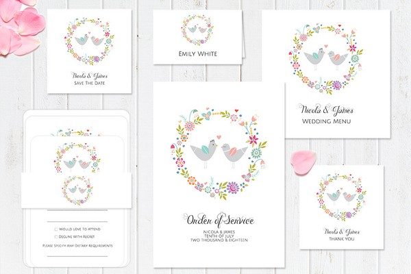 Summer Love Birds Wedding Stationery