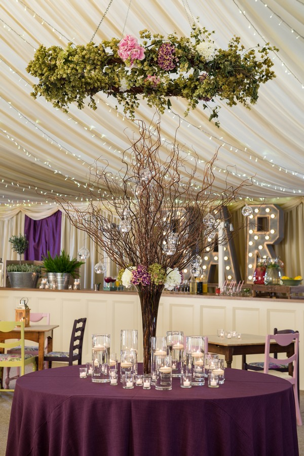 Tall Table Centrepiece on Ultra Violet Tablecloth