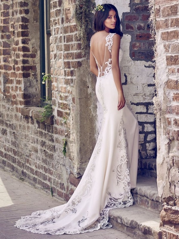 Veronica Wedding Dress with Laser Cut Train