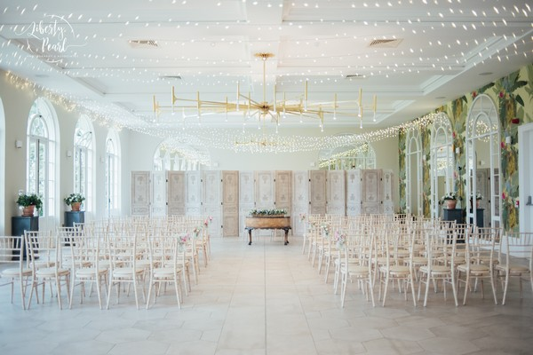 Wedding Ceremony Seating in Orangery at Deer Park Country House Hotel
