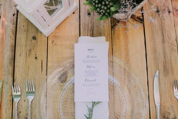 Wedding Menu on Glass Plate