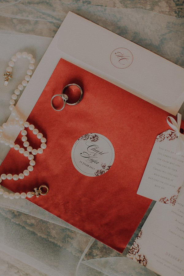 Wedding invitation and jewellery