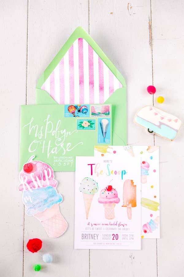 Colourful ice cream hen party stationery
