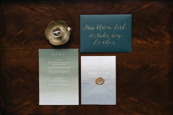 Dark and metallic style wedding stationery