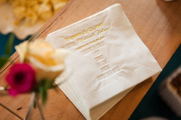 Napkins with wedding order of the day printed on them