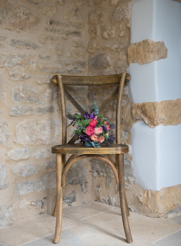 Bouquet on wooden chair