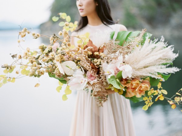 Large foraged bridal bouquet