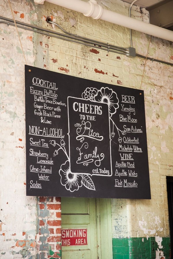Wedding cocktail menu on chalkboard