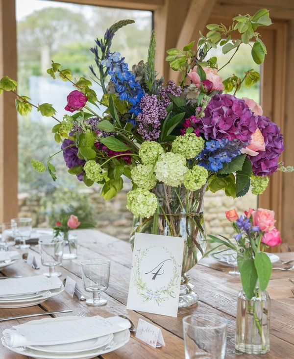Homegrown flower display and table number