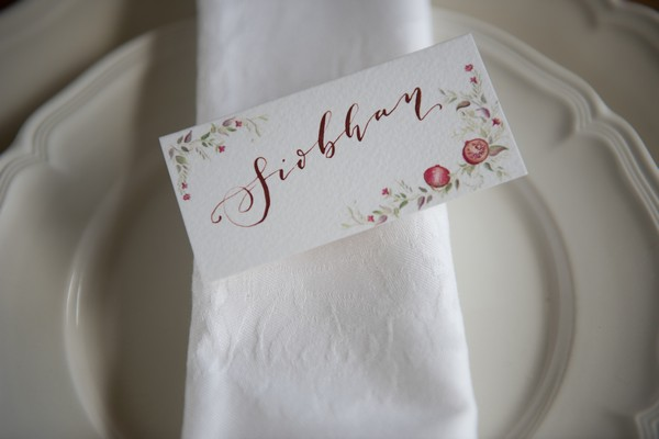 Floral wedding name place card