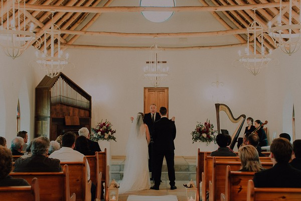 Wedding ceremony in St. Clement's Chapel at Vondeling vineyard