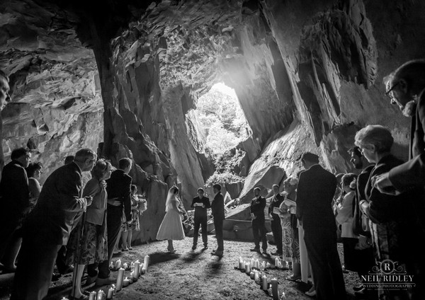 Wedding ceremony in a cave - Picture by Neil Ridley Photography