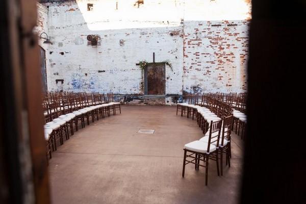 Circular wedding ceremony seating arrangement