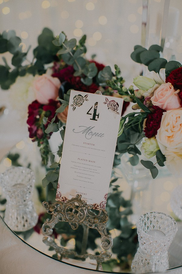 Winter wedding table number