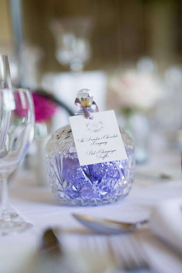 Jar of truffles on wedding table