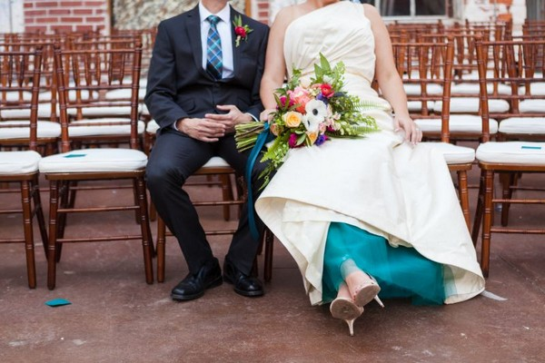 Teal underskirt of bride's wedding dress