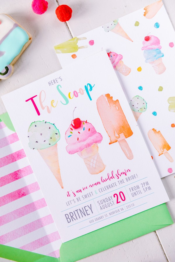 Ice cream hen party invitation