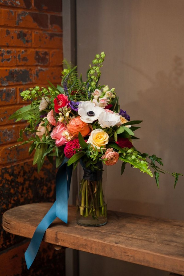Bright and colourful bridal bouquet