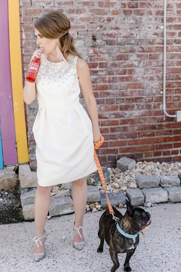 Woman in 1960's style dress with French bulldog