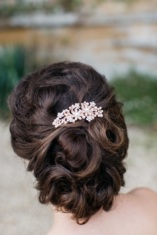 Bridal hair accessory in updo hairstyle
