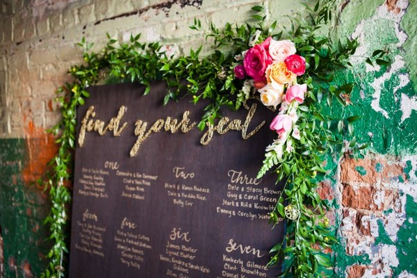 Wedding table plan with colourful floral decoration