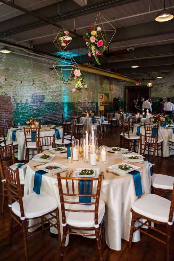 Wedding tables in The Engine Room, Georgia