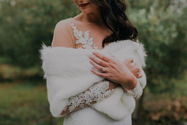Bride's fur shrug