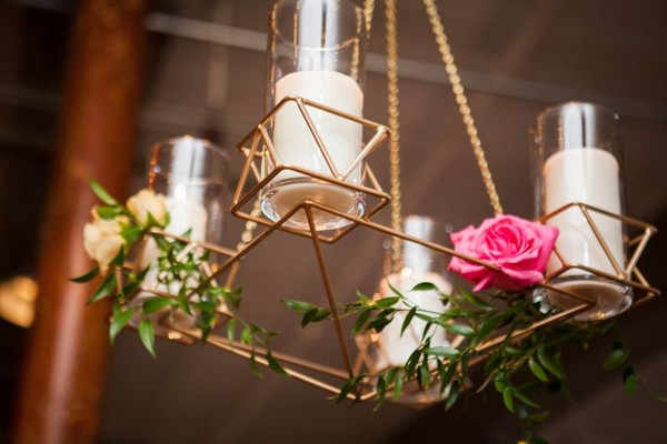 Geometric chandelier with flowers