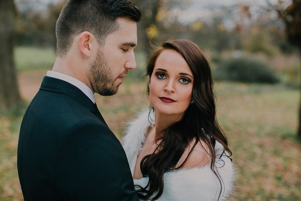 Bride staring into camera