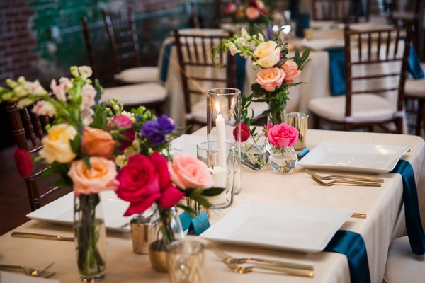 Colourful flowers on wedding table