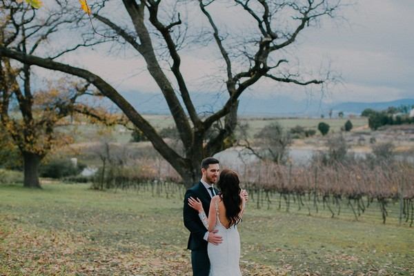 Bride and groom by tree at Vondeling vineyard