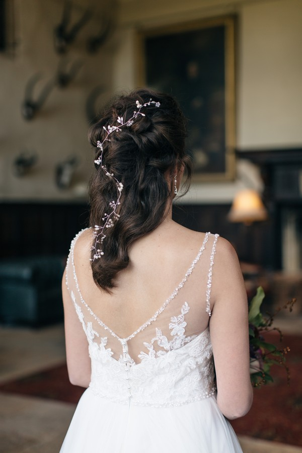 Hair vine in back of bride's hair