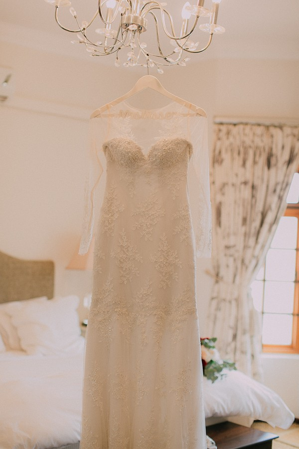 Wedding dress with lace detail