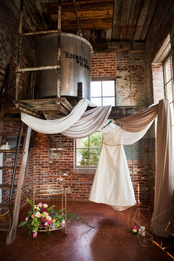 Wedding dress hanging in The Engine Room, Georgia